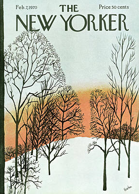 Winter Trees Painting - New Yorker February 7th, 1970 by David Preston