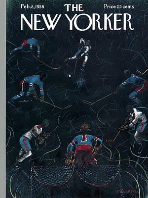 Hockey Games Painting - New Yorker February 8th, 1958 by Garrett Price
