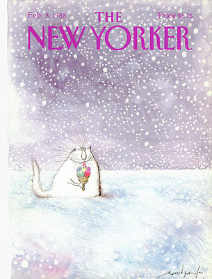 Winter Painting - New Yorker February 8th, 1988 by Ronald Searle