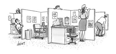 Cubicle Drawing - New Yorker February 8th, 1999 by Tom Cheney