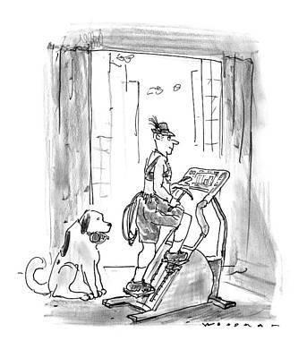 Saint Bernard Drawing - New Yorker February 9th, 1998 by Bill Woodman