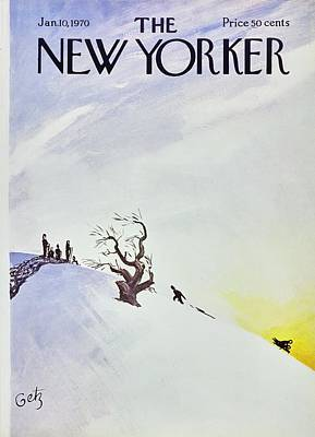 Winter Trees Painting - New Yorker January 10th 1970 by Arthur Getz