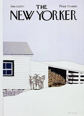 Winter Scene Painting - New Yorker January 10th 1977 by Gretchen Dow Simpson