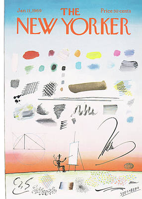 New Yorker January 11th, 1969 Art Print by Saul Steinberg