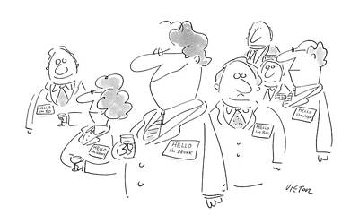 People Drawing - New Yorker January 11th, 1988 by Dean Vietor