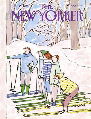 Skiing Painting - New Yorker January 11th, 1988 by Devera Ehrenberg