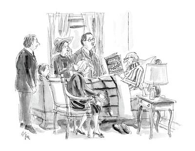 Deathbed Drawing - New Yorker January 11th, 1988 by Everett Opie