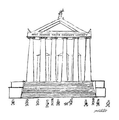 Justice Drawing - New Yorker January 11th, 1988 by Mischa Richter