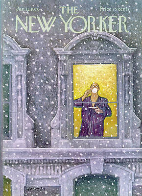 Winter Snow Painting - New Yorker January 12th, 1976 by Charles Saxon