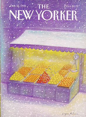 Winter Season Painting - New Yorker January 12th, 1981 by Eugene Mihaesco