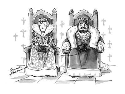 The King Drawing - New Yorker January 12th, 1987 by Bernard Schoenbaum
