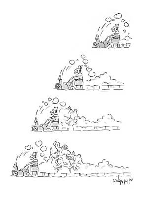 The Statue Drawing - New Yorker January 12th, 1987 by Vahan Shirvanian