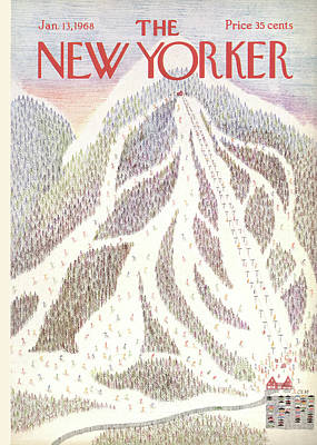 Ski Painting - New Yorker January 13th, 1968 by Charles E. Martin