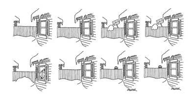 Fence Drawing - New Yorker January 13th, 1986 by Jack Ziegler