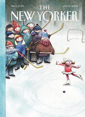 Hockey Painting - New Yorker January 13th, 2003 by Carter Goodrich