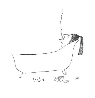 Solitary Drawing - New Yorker January 14th, 1956 by Saul Steinberg