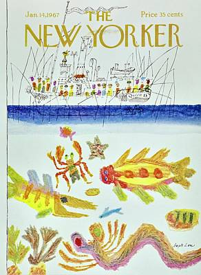 Wildlife Painting - New Yorker January 14th 1967 by Joseph Low