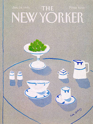 Tea Service Painting - New Yorker January 14th, 1985 by Eve Olitsky
