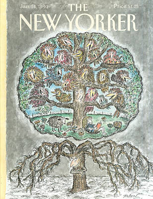 Winter Trees Painting - New Yorker January 14th, 1991 by Edward Koren