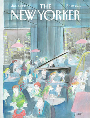 Dinner Painting - New Yorker January 15th, 1990 by Jean-Jacques Sempe