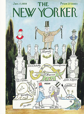 President Painting - New Yorker January 17th, 1959 by Saul Steinberg