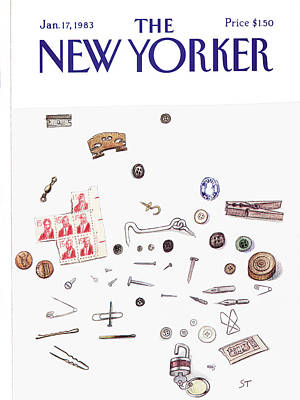 Lock Painting - New Yorker January 17th, 1983 by Saul Steinberg