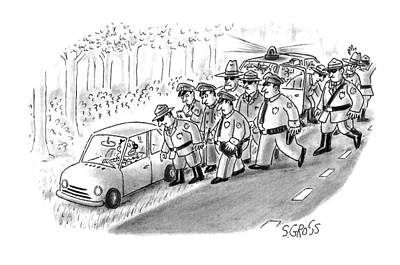 Police Car Drawing - New Yorker January 18th, 1993 by Sam Gross