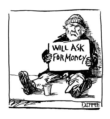 Beggars Drawing - New Yorker January 18th, 1999 by Matthew Diffee