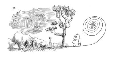 Hike Drawing - New Yorker January 19th, 1963 by Saul Steinberg
