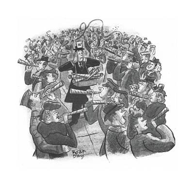 Loud Drawing - New Yorker January 1st, 1944 by Robert J. Day