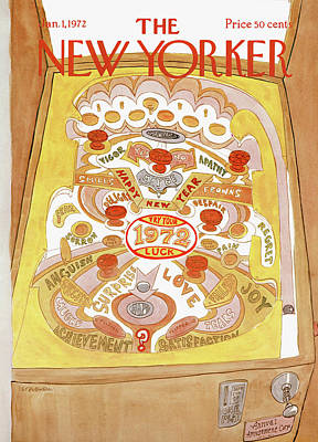 Pinball Painting - New Yorker January 1st, 1972 by James Stevenson