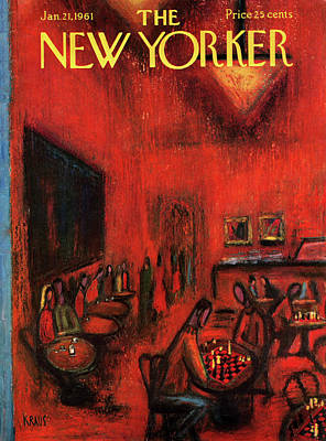 Chess Painting - New Yorker January 21st, 1961 by Robert Kraus