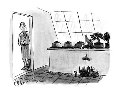 Miniature Drawing - New Yorker January 21st, 1991 by Warren Miller