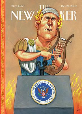 Podium Painting - New Yorker January 22nd, 2007 by Anita Kunz