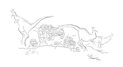 Kangaroo Drawing - New Yorker January 23rd, 1943 by Garrett Price