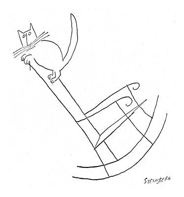 Sway Drawing - New Yorker January 23rd, 1954 by Saul Steinberg