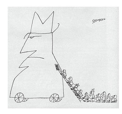 Surprise Drawing - New Yorker January 23rd, 1960 by Saul Steinberg