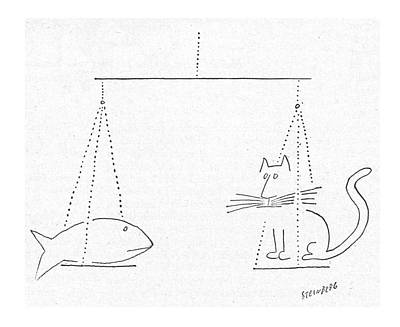 Cats Drawing - New Yorker January 24th, 1953 by Saul Steinberg