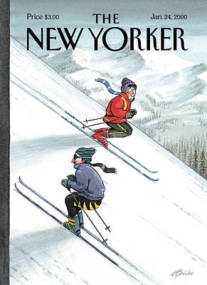 Ski Painting - New Yorker January 24th, 2000 by Harry Bliss