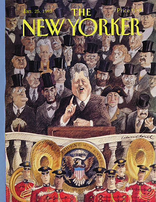 Speeches Painting - New Yorker January 25th, 1993 by Edward Sorel