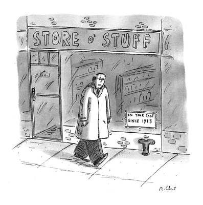 Window Signs Drawing - New Yorker January 25th, 1993 by Roz Chast