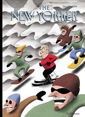 Boarding Painting - New Yorker January 25th, 1999 by Ian Falconer