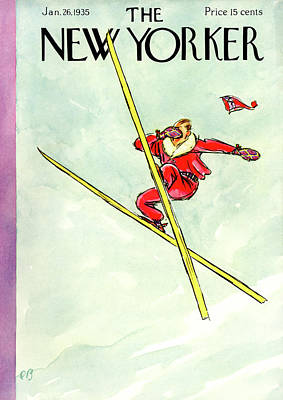 Skiing Painting - New Yorker January 26th, 1935 by Perry Barlow
