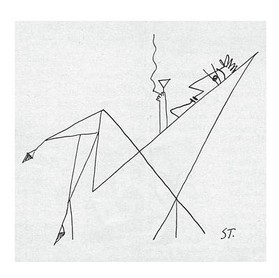 Abstract Shapes Drawing - New Yorker January 26th, 1957 by Saul Steinberg