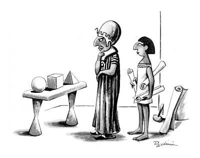 Contemplating Drawing - New Yorker January 26th, 1976 by Eldon Dedini