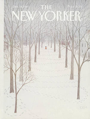 Winter Painting - New Yorker January 26th, 1981 by Charles E Martin