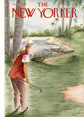 Golf Painting - New Yorker January 27th, 1940 by Constantin Alajalov
