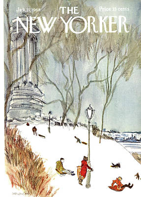 Winter Painting - New Yorker January 27th, 1968 by James Stevenson