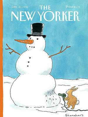 Winter Painting - New Yorker January 27th, 1992 by Danny Shanahan