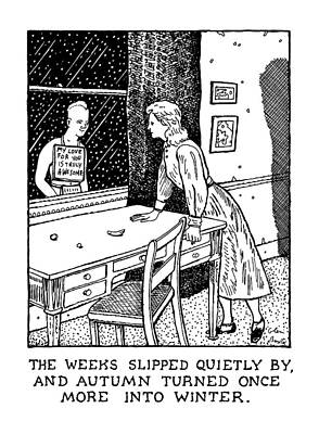Quietly Drawing - New Yorker January 27th, 1992 by Glen Baxter